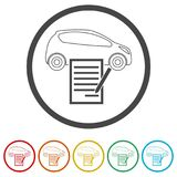 Car purchasing contract icon, 6 Colors Included. Simple vector icons set Royalty Free Stock Photos