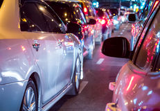Car queue in the bad traffic night Stock Image