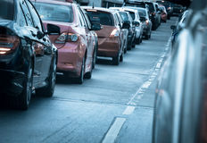 Car queue in the bad traffic road Stock Image
