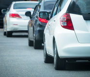 Car queue in the bad traffic road Stock Photos
