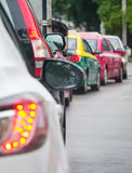 Car queue in the bad traffic road Royalty Free Stock Photo