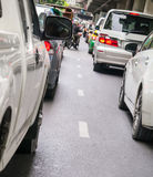 Car queue in the bad traffic road Royalty Free Stock Images