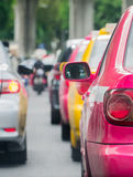 Car queue in the bad traffic road Stock Photography