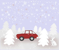 Car and Rabbit in Snowy Weather Stock Photo