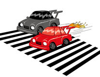 Car Race. Black v.s. red car race Royalty Free Stock Images