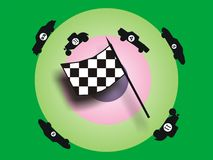 Car race. Colored background with race flag and race cars Stock Image