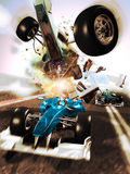 Car race accident Stock Photo