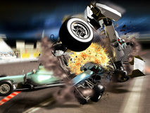 Car race accident. An accident in a car race.   Two formula one cars impact against a third one, provoking an explosion Stock Images