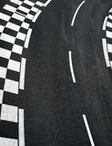 Car race asphalt on Grand Prix street track. Car race asphalt and chess curb on Grand Prix street track Royalty Free Stock Images