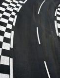 Car race asphalt on Grand Prix street track. Car race asphalt and chess curb on Grand Prix street track royalty free stock images