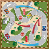 Car race. Board game. View from above. Vector illustration Royalty Free Stock Photo