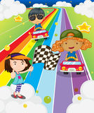 A car race at the colorful road Stock Photography