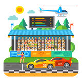 Car Race. Competition at the stadium. Tribunes with the fans. Vector flat illustration Royalty Free Stock Photography