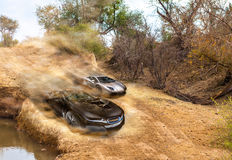 Car race on dirty road Stock Images