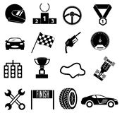Car race icons set. In black Royalty Free Stock Photography