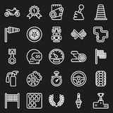 Car race icons set on black background. Car race icons set. Stopwatch and speedometer, tire and pedestal, helmet and cup, winning finish, flag and speed Stock Illustration