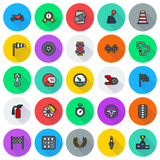 Car race icons set on round background. Car race icons set. Stopwatch and speedometer, tire and pedestal, helmet and cup, winning finish, flag and speed Royalty Free Stock Images