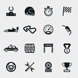 Car race icons set. Stopwatch and speedometer, tire and pedestal, helmet and cup, winning finish, flag and speed competition, vector illustration Royalty Free Stock Photos