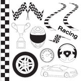 Car race icons set Royalty Free Stock Images