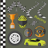 Car race icons set Royalty Free Stock Photography