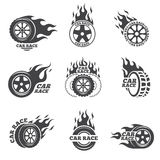 Car race logo set. Wheel with fire flame. Sport speed, tyre blaze, fire and flash, vector illustration Royalty Free Stock Photos