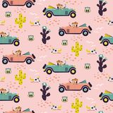 Car race in sand desert cute girl seamless pattern wallpaper. Western floral cactus plants and animal skulls pink background. Retro race cartoon cars with royalty free illustration