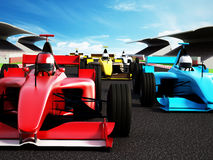 Car race. Showing red race car at the front Royalty Free Stock Photography