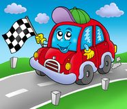 Car race starter on road. Color illustration Stock Photography