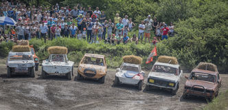 Car Race for survival on the Bizon Track Show Stock Photography