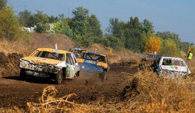 Car race for survival Stock Image