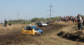 Car race for survival Stock Photography