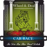 Car Race, Wheel and Deal, graphic design for Shirt, Badge, Logo. royalty free stock images