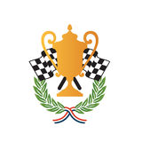 Car race winner award design. Vector illustration of emblem of racing winners, with gold cup trophy, checkered flags and bay laurel crowns Royalty Free Stock Photo