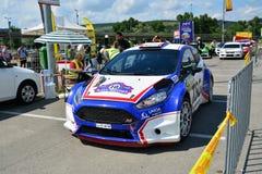 Car racer checks in at Transylvania Rally Stock Photography