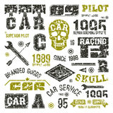 Car races and service badges Stock Photography