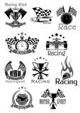 Car races or sport motor racing club vector icons. Racing sport club or car speed race sport icons. Motor bike rally symbols set of sportscar firing helmet and stock illustration