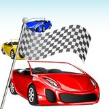 Car Racing. Illustration of colorful car in racing car with checker flag Stock Images