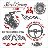 Car racing badges and elements. Graphic design for t-shirt. Stock Image