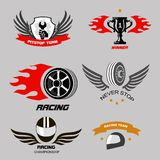 Car racing badges and motorcycle service, Royalty Free Stock Photography