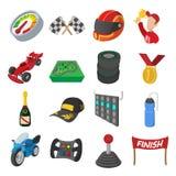 Car racing cartoon icons set Stock Photography