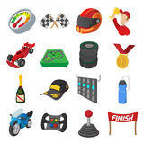 Car racing cartoon icons set. Illustrations isolated on a white Stock Image