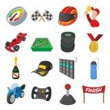 Car racing cartoon icons set Stock Image