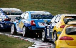 Car Racing(Chevrolet Lacetti,FIA WTCC). Chevrolet Lacetti,Nicola LARINI(ITA),FIA WTCC race : in ENGLAND,Circuit Brands Hatch, September 23. 2007. #Chevrolet Royalty Free Stock Photo