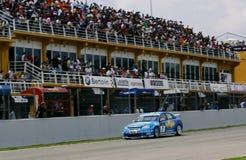 Car Racing(Chevrolet Lacetti,FIA WTCC). Chevrolet Lacetti Win,FIA WTCC race : in SPAIN,Circuit Valencia, May 18. 2008. No.7 Robert Huff(GBR), #Chevrolet Stock Photography