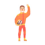 Car racing driver man in an orange uniform greeting fans, member of racing team vector Illustration Royalty Free Stock Images