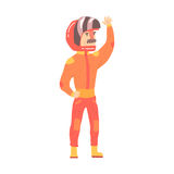 Car racing driver man in an orange uniform greeting fans, racing participant vector Illustration Royalty Free Stock Photo