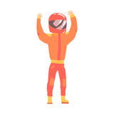 Car racing driver man in an orange uniform and helmet greeting fans, racing participant vector Illustration Stock Images