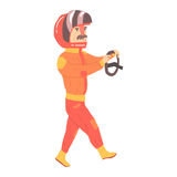 Car racing driver man in an orange uniform and helmet holding steering wheel, racing participant vector Illustration Stock Image