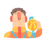 Car racing driver man in an orange uniform holding golden medal, racing participant vector Illustration Royalty Free Stock Photo