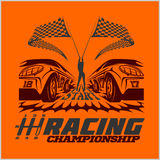 Car racing emblem and championship race badge Stock Images